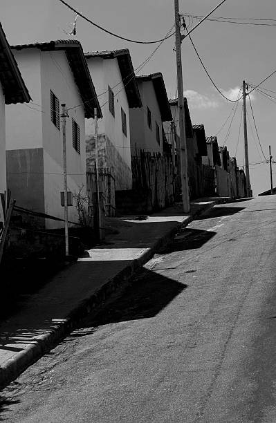 Row of houses in a slope street in Brazil – Foto