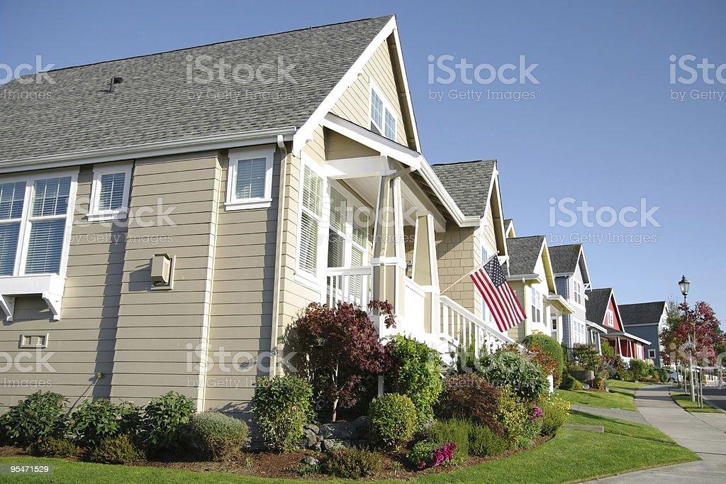 Row of houses in a suburban neighborhood stock photo
