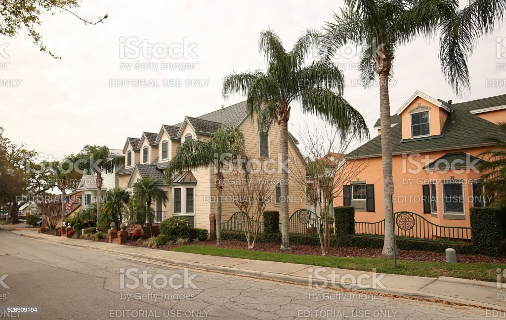 Row of houses in downtown Mount Dora, Florida stock photo
