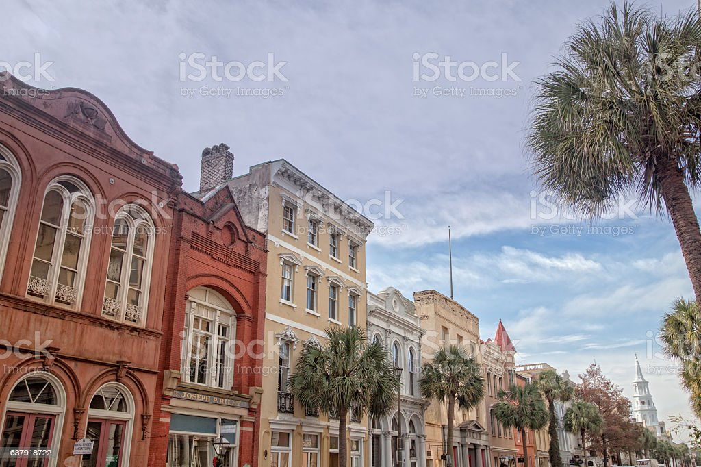 Row of Houses in Historic Charleston, South Carolina stock photo