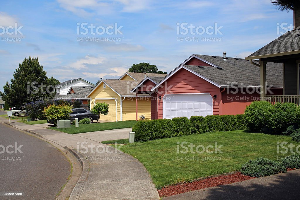 Row of houses in suburban neighborhood stock photo