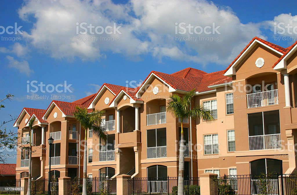 A row of identical condominiums royalty-free stock photo