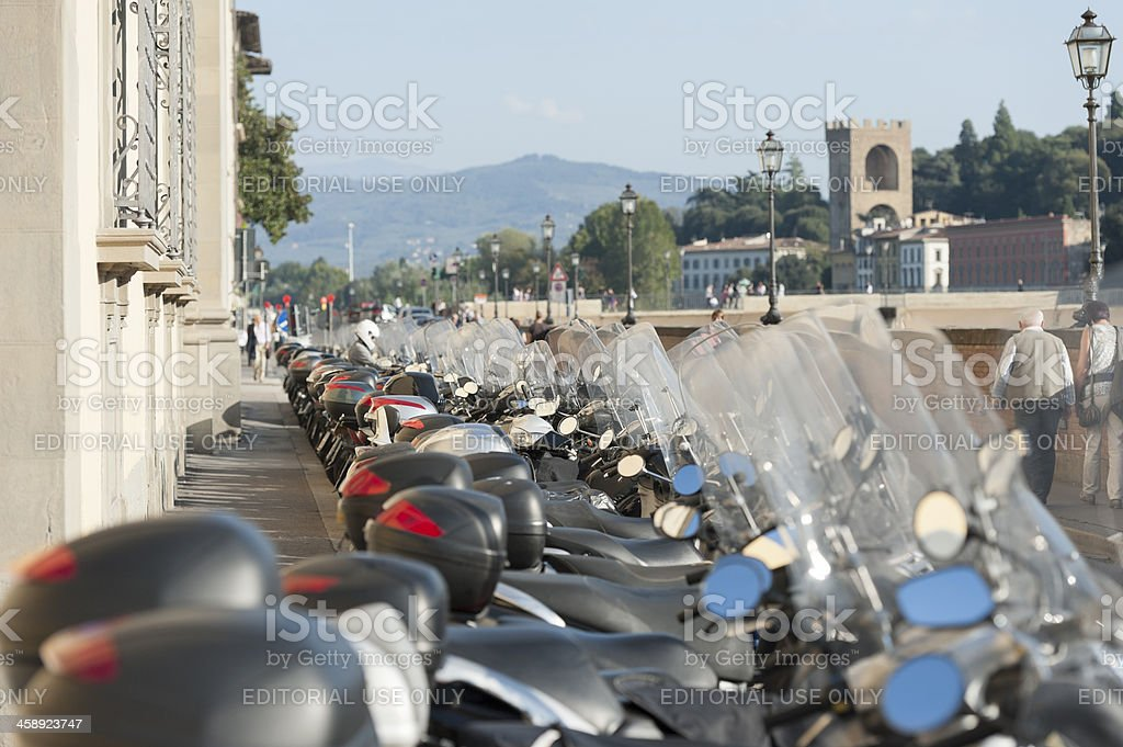 row of italian scooters in Florence, Tuscany royalty-free stock photo