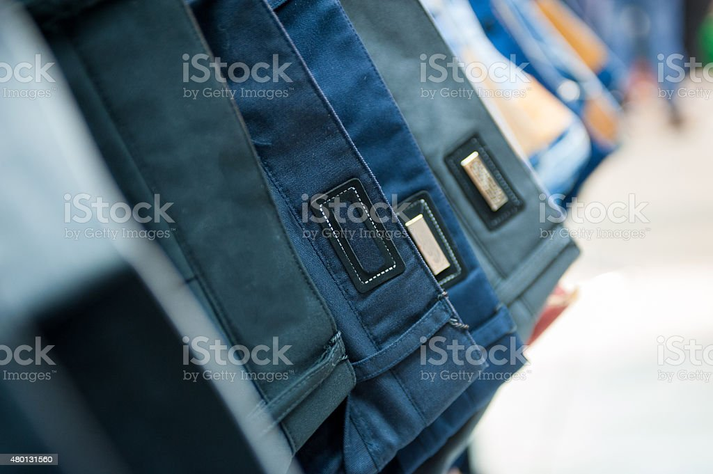 Row of Jeans and trousers stock photo