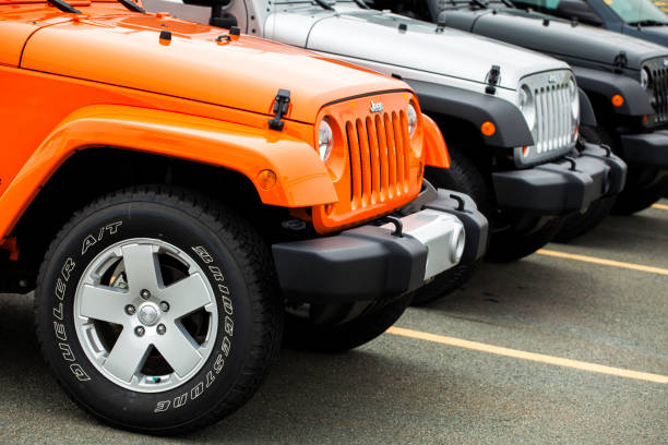 Row of Jeep Wranglers at a Car Dealership stock photo