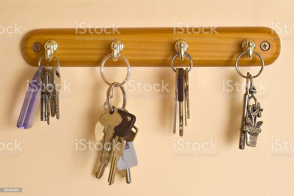 Row of Keys on Key Rack stock photo