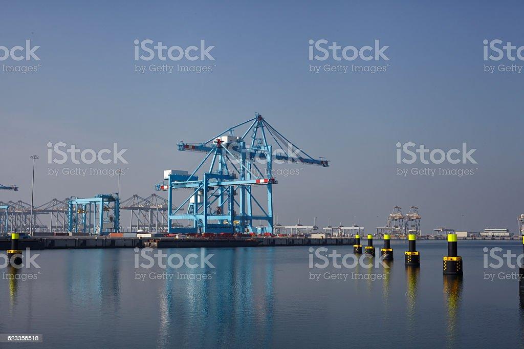 Row of large harbor cranes in the rotterdam harbor stock photo
