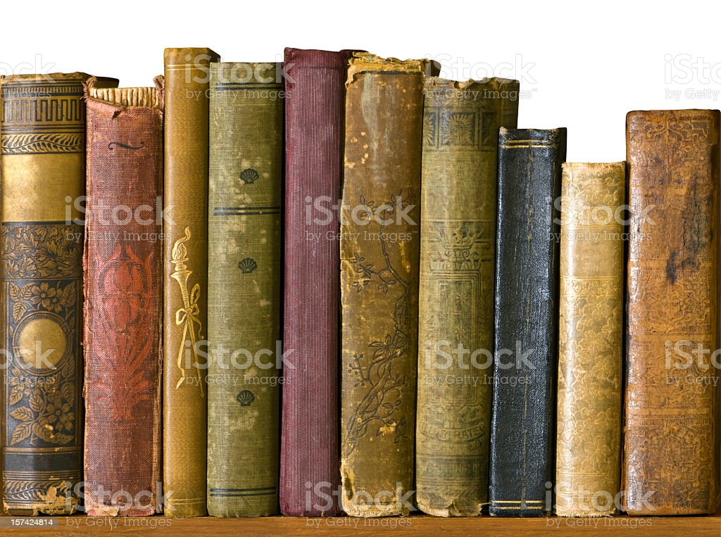 A row of leather bound antique books stock photo