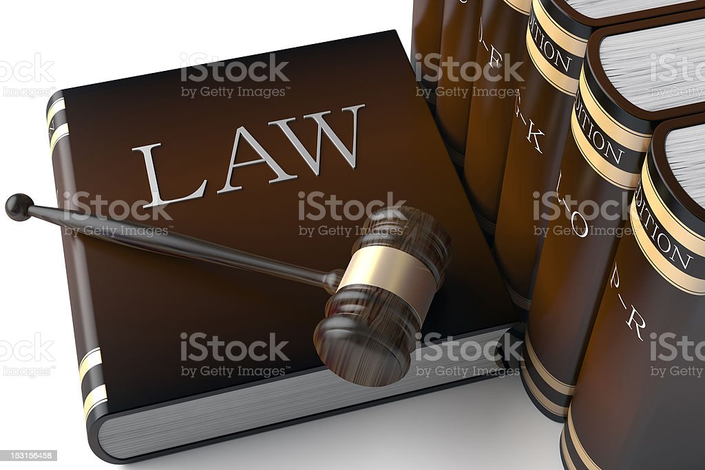 Row of leather law books on royalty-free stock photo