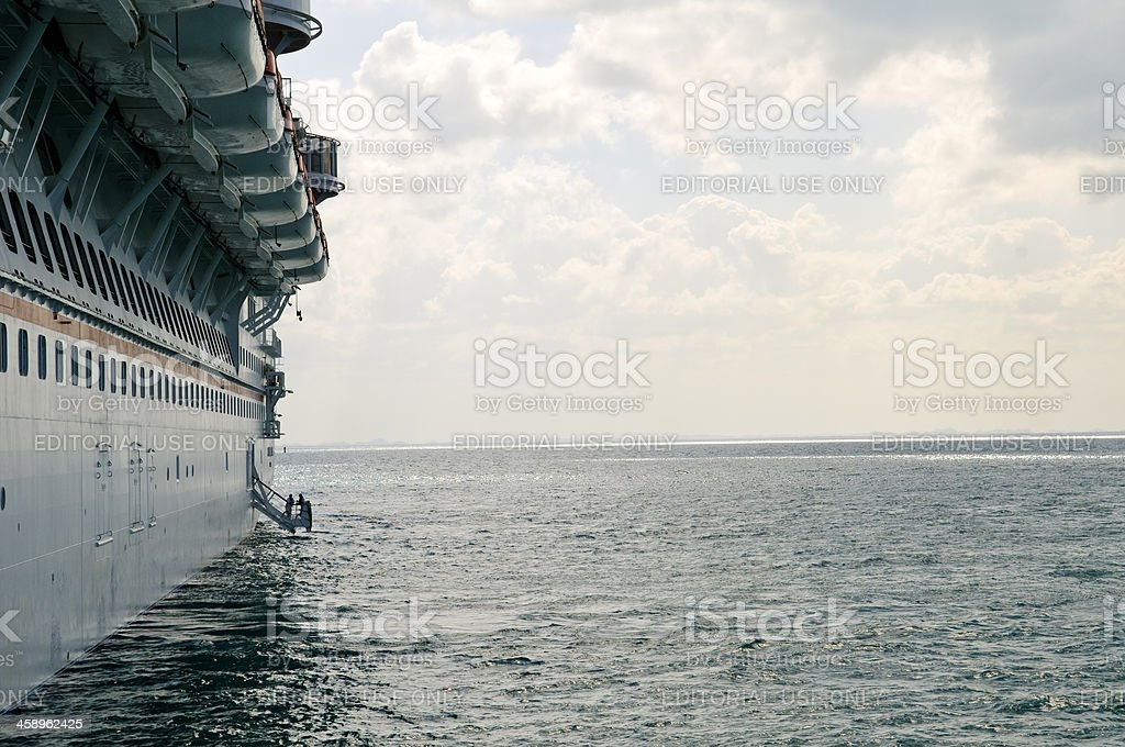 Lifeboats on a cruise ship royalty-free stock photo