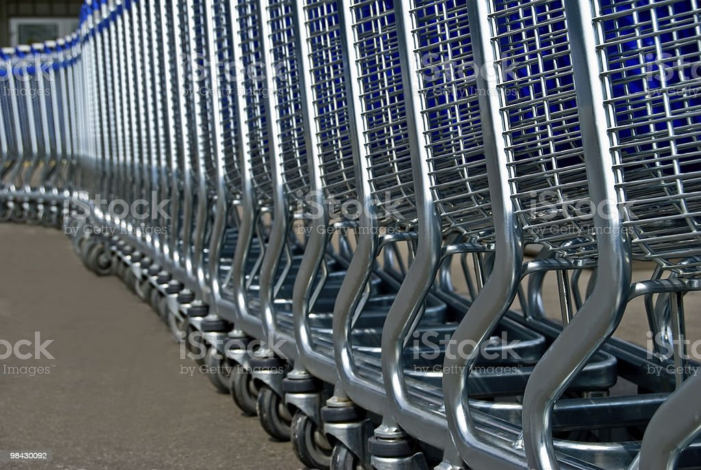 row of light carts for a supermarket royalty-free stock photo