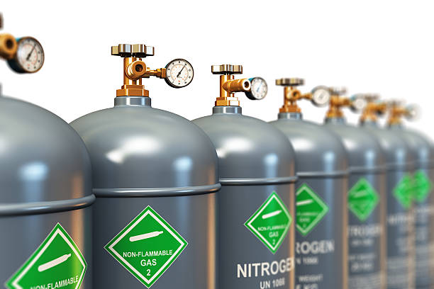 Row of liquefied nitrogen industrial gas containers See also: liquid nitrogen stock pictures, royalty-free photos & images