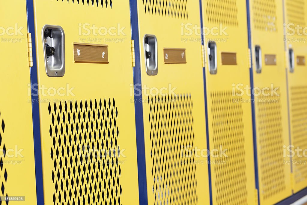 Row of lockers in a school locker room stock photo