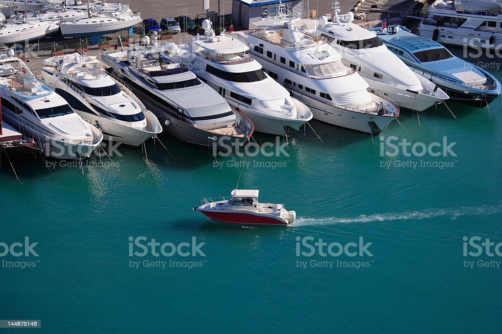 row of luxury yachts at Nice harbor, Franch Riviera, France royalty-free stock photo