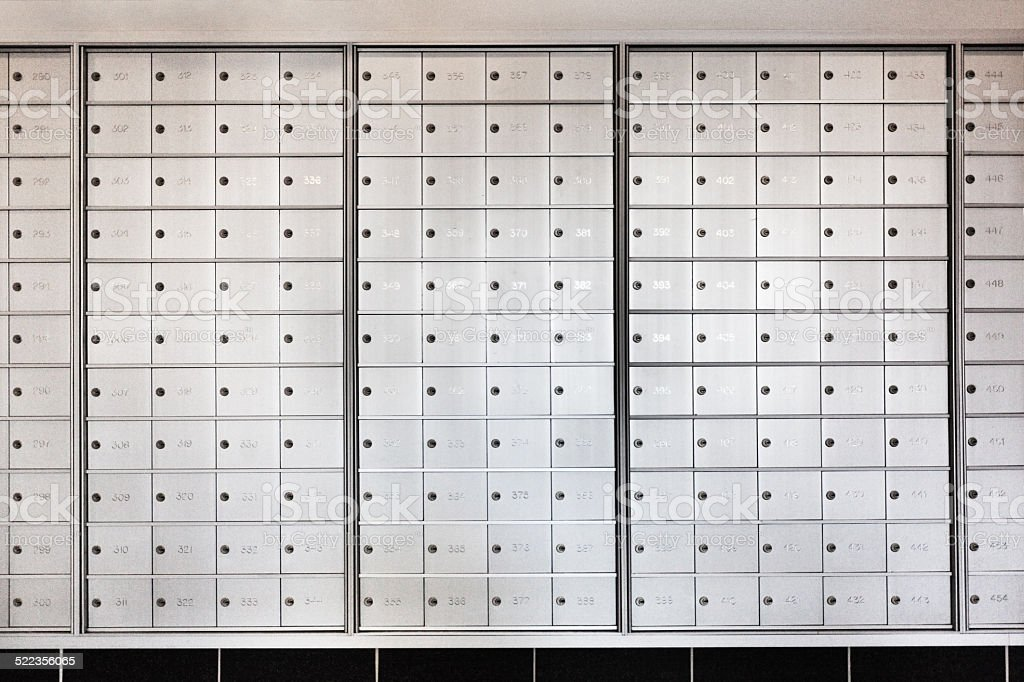 Row Of Mailboxes In Apartment Building Stock Photo ...