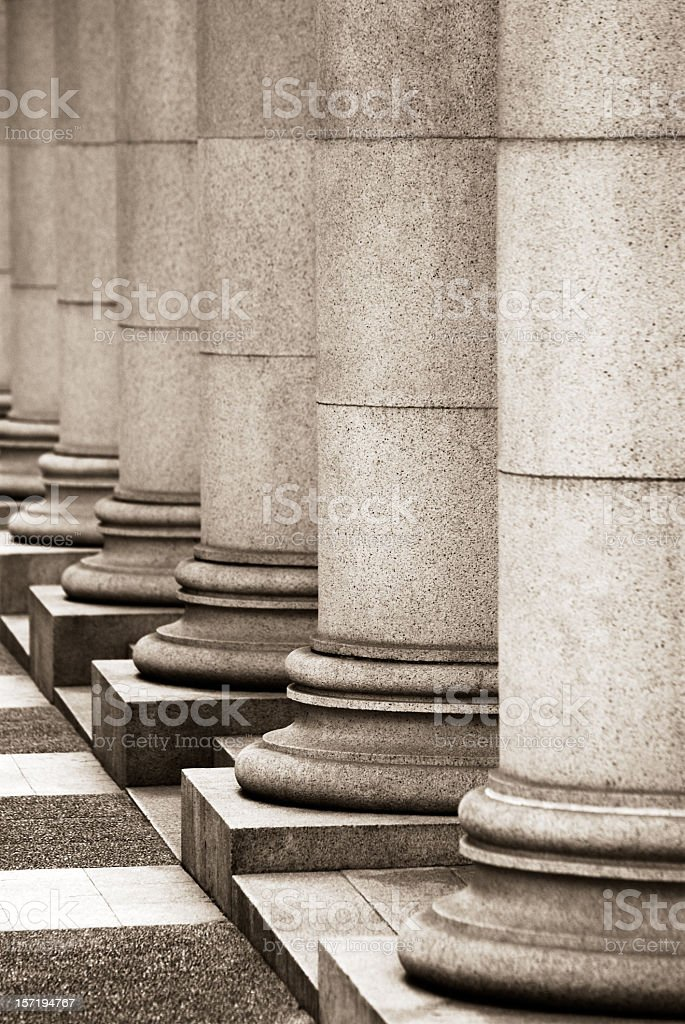 A row of massive granite columns royalty-free stock photo