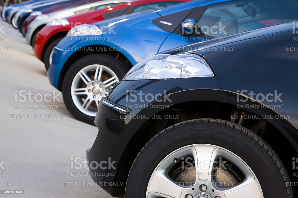 Row of Mercedes Benz A-Class compact cars stock photo