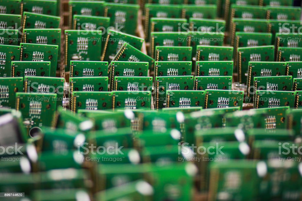 A row of microchips stock photo