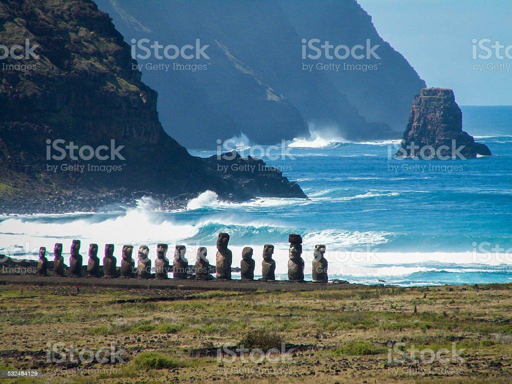 Row Of Moai By Sea Landscape Close stock photo