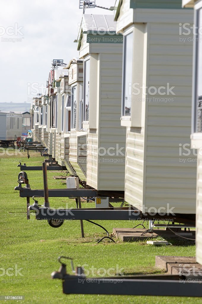 Row of mobile homes with hitches royalty-free stock photo