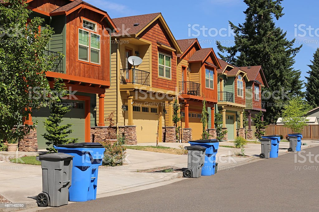 Row of modern houses in suburban neighborhood stock photo