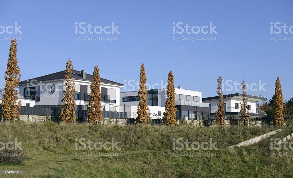 Row of modern luxury white houses royalty-free stock photo