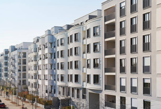 Row of modern residential houses stock photo