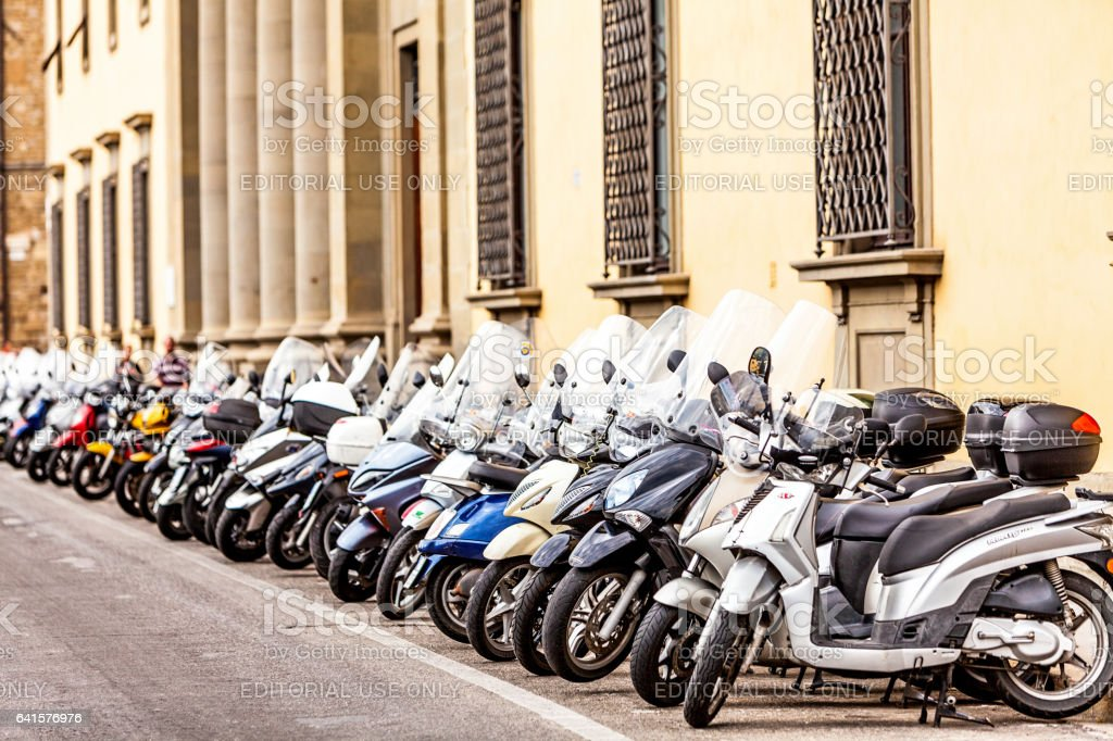 Row of Motorbikes in Florence Italy stock photo