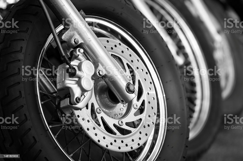 Row of motorcycles on the street royalty-free stock photo