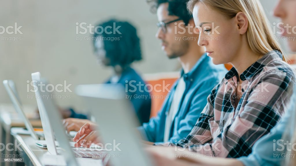 Row of Multi Ethnic Students Working on the Laptops while Listening to a Lecture in the Modern Classroom. Bright Young People Study at University. stock photo