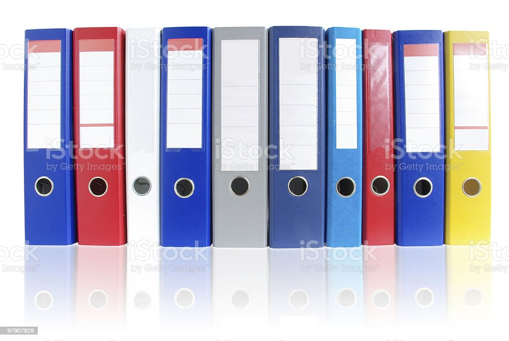 Row of multicolored ring binders royalty-free stock photo