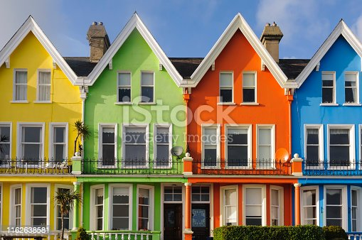 Row of multi-coloured houses in Northern Ireland