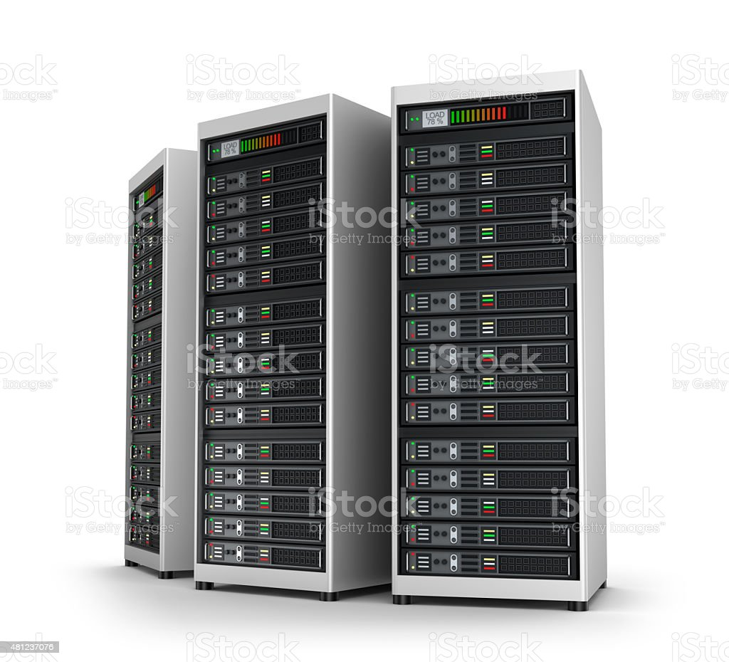 Row of network servers in data center isolated on white stock photo
