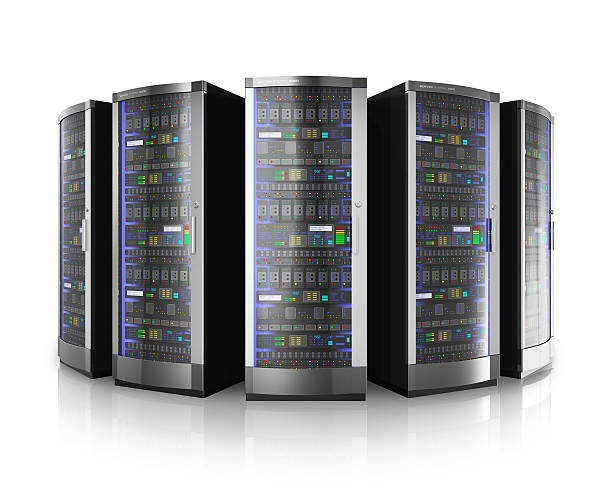 row of network servers in data center - mainframe stock pictures, royalty-free photos & images