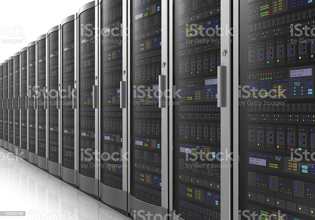 Row of network servers in datacenter - Royalty-free Black Color Stock Photo
