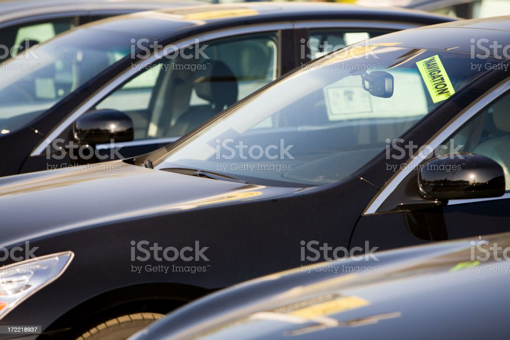Row of New Cars at a Dealership royalty-free stock photo