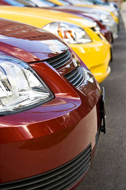 Row of New Cars at Dealership stock photo