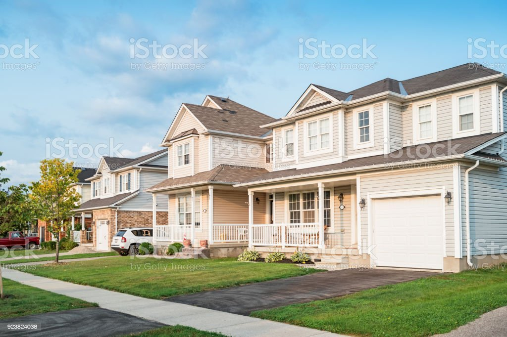 Row of new homes in Brantford Ontario Canada stock photo