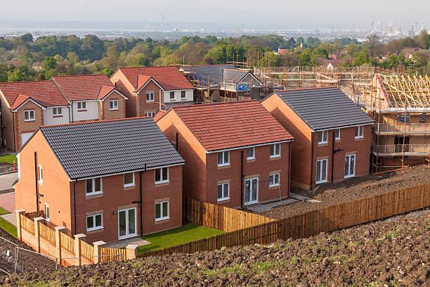 Row of new homes stock photo