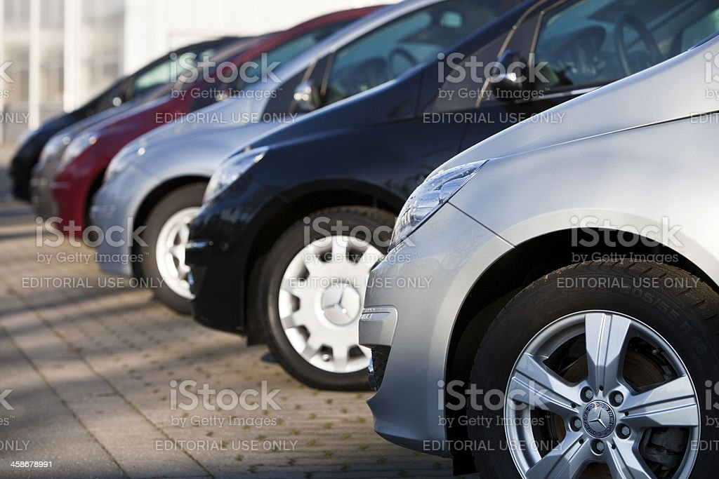 Row of New Mercedes Benz B-Class Cars at Car Dealership royalty-free stock photo