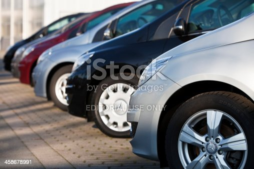 Forchheim, Germany - January 16, 2011: Row of New Mercedes Benz B-Class Cars at Car Dealership. Mercedes Benz is a manufacturer of luxury vehicles and had a broad range of vehicles ranging from the entry-level B-Class to the range topping super car the Mercedes SLS-AMG.
