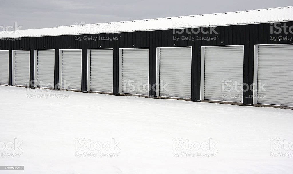 Row of New Mini Storage royalty-free stock photo
