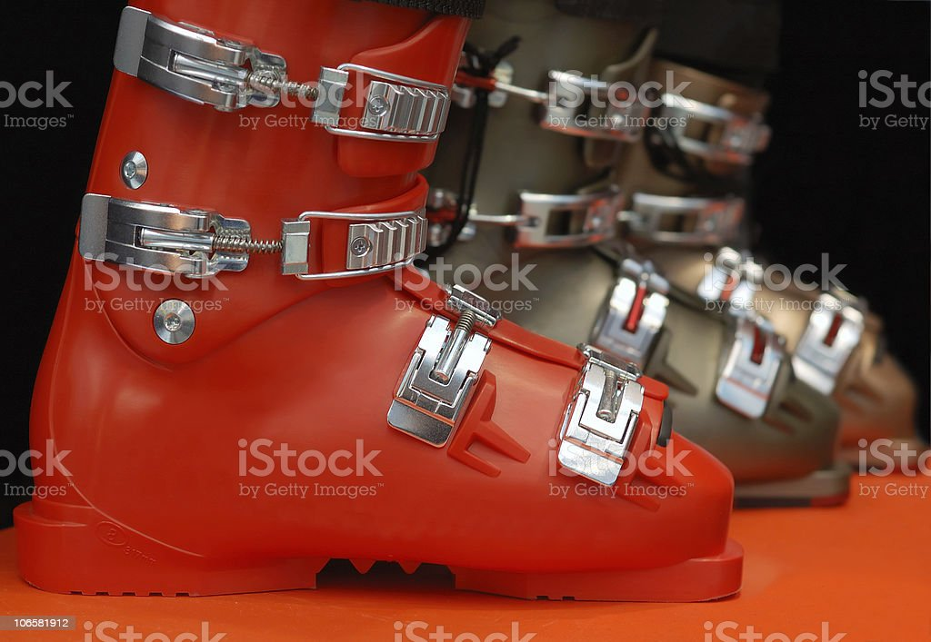 row of new ski boots royalty-free stock photo