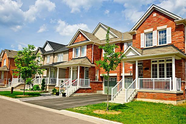 Row of new suburban homes stock photo