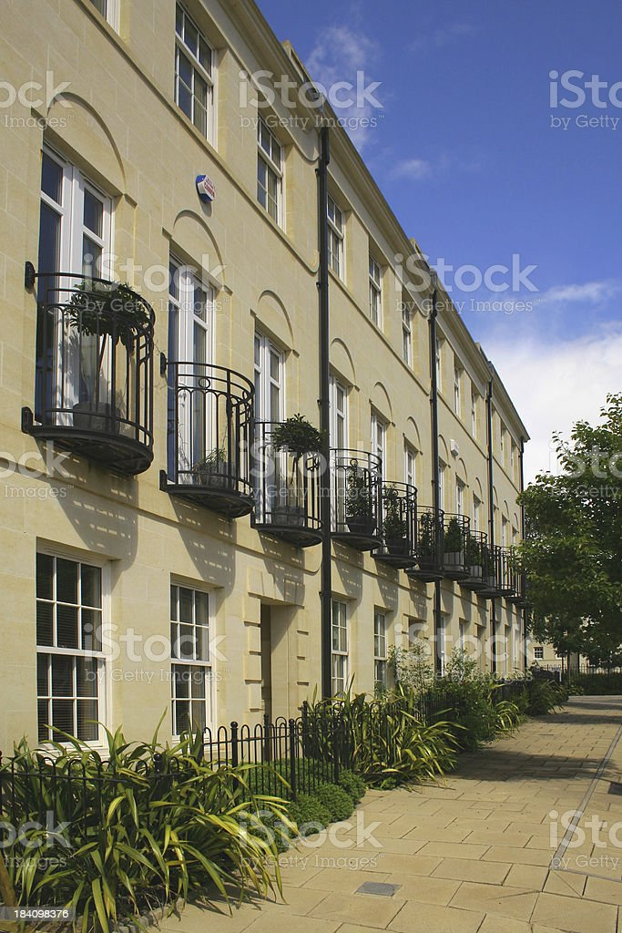 Row of New Town Houses and Apartments stock photo