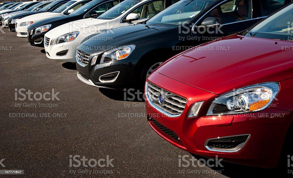 Row of New Volvo Cars stock photo