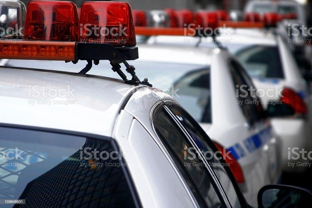 Row of New York City Police Cars - Close Up stock photo