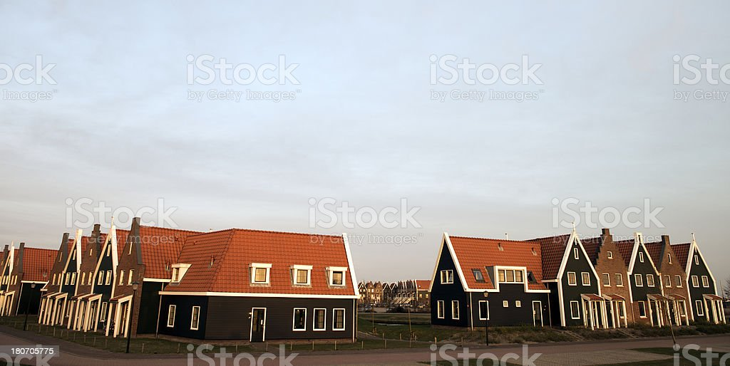 Row of newly built traditional looking houses royalty-free stock photo