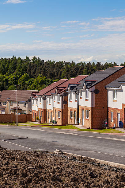 Row of newly finished houses. stock photo