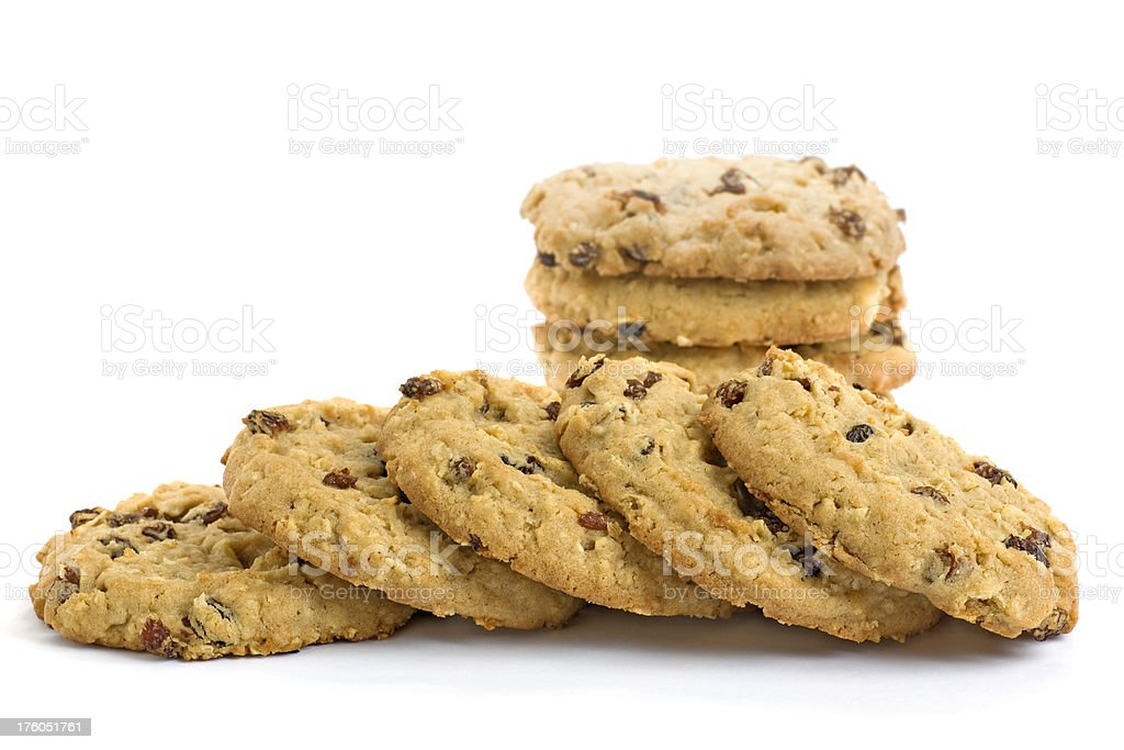 row of oatmeal raisin cookies stock photo